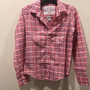 New! Frank And Eileen Barry  Plaid Cotton Shirt